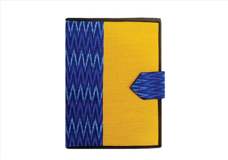 Yellow & Blue Ikat Handy Folder