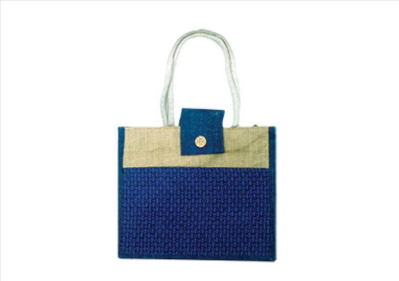 Gentle Blue Office Jute Bag