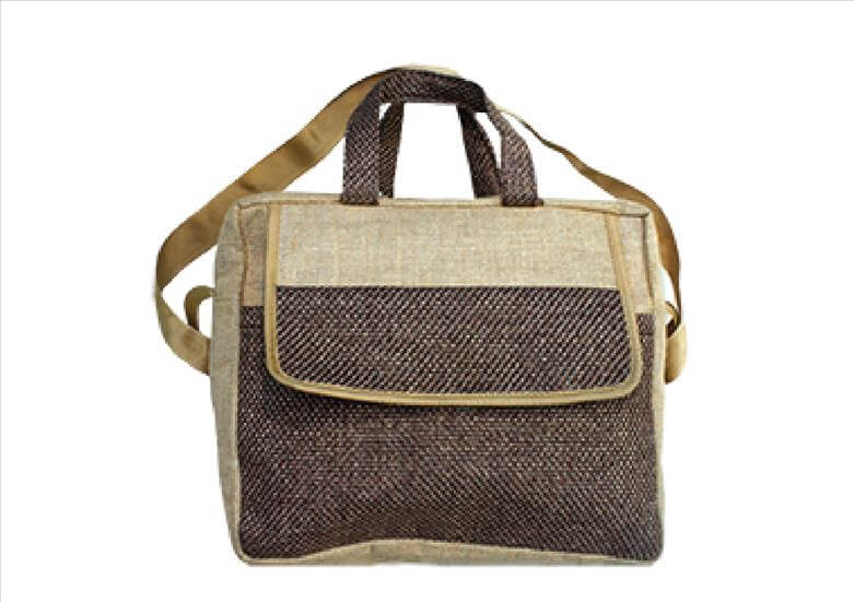 Brown Checkered Work Jute Bag